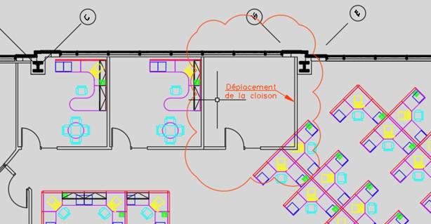 Les zones du dessin modifiées