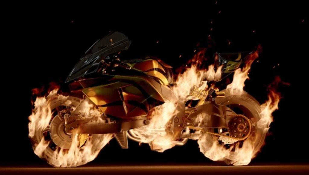 chaos phoenix moto en flamme