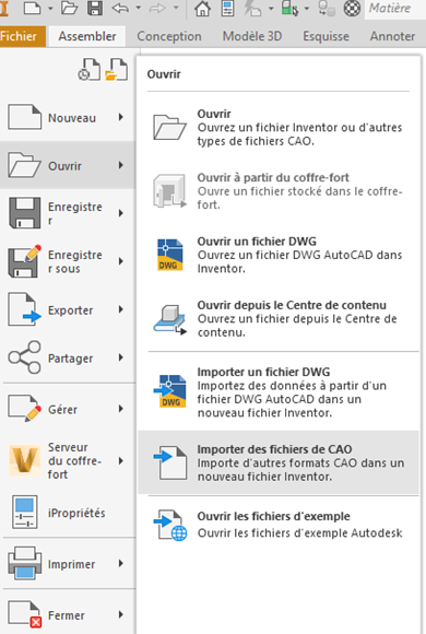 importer des fichiers de CAO
